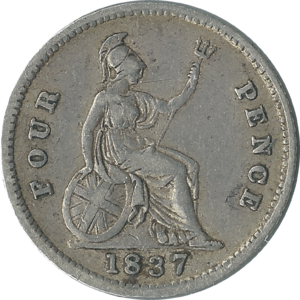 Fourpence (British coin) - Image: British fourpence 1837 reverse