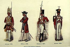 Red coat (military uniform) - Types of old infantry uniforms of the British army, 1750–1835