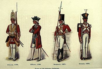 English Costumes 1600 1700 http://en.wikipedia.org/wiki/Red_coat_(British_army)