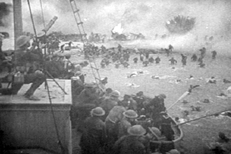 Divide and Conquer (film) - Feature film re-enactment of British troops under fire on the beach at Dunkirk.