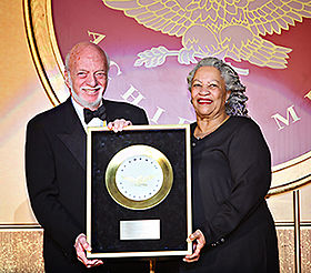 Broadway director Harold Prince receives the Golden Plate award from Nobel laureate Toni Morrison at the American Academy of Achievement's 46th annual International Achievement Summit in Washington, D.C. on Saturday, June 23, 2007.jpg