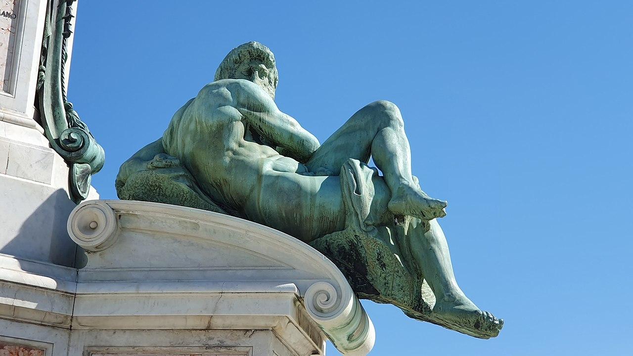 Piazzale Michelangelo, bronze replica of Day, after Michelangelo's sculptures on the tomb of Giuliano de' Medici