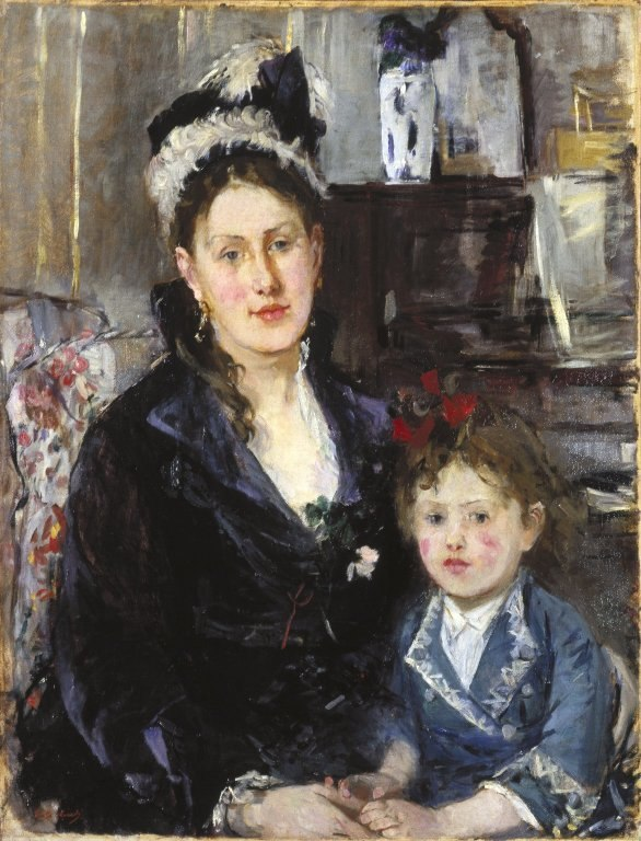 Brooklyn Museum - Portrait of Mme Boursier and Her Daughter (Portrait de Mme Boursier et de sa fille) - Berthe Morisot