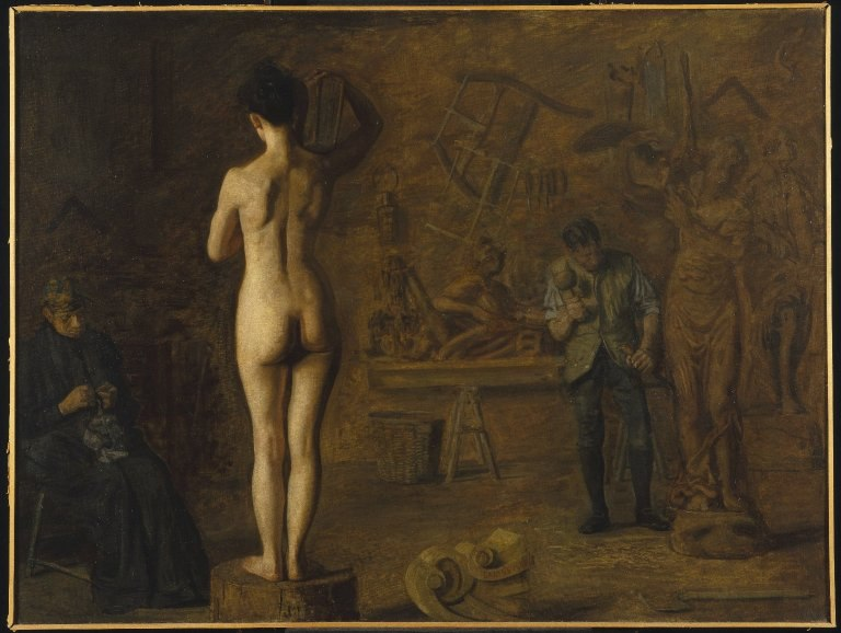 Brooklyn Museum - William Rush Carving His Allegorical Figure of the Schuylkill River - Thomas Eakins - overall