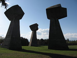 "FK Radnički Niš - ""The Fists"", one of the monuments in memory of the victims of the Bubanj massacre."