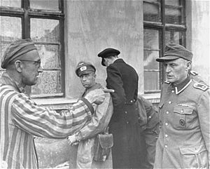 Buchenwald Trial - A SS guard who allegedly abused prisoners was identified on 14 April 1945 by a former Soviet Buchenwald prisoner at Buchenwald.