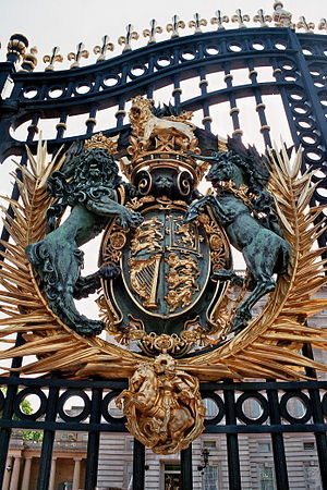 Bromsgrove Guild of Applied Arts - Main gate of Buckingham Palace with royal coat of arms