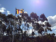 The Buddhist Flag Flying At Nan Tien Temple Wollongong Australia