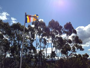 Buddhist flag - The Buddhist flag flying at the Nan Tien Temple, Wollongong, Australia