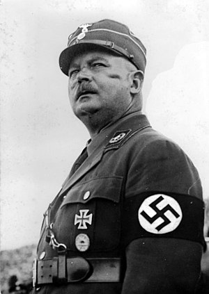 Ernst Rohm, SA Chief of Staff, was shot on Hitler's orders, after refusing to commit suicide, in the Night of the Long Knives purge in 1934 Bundesarchiv Bild 102-15282A, Ernst Rohm.jpg