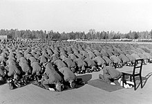 hundreds of men kneeling and bent over in Muslim prayer
