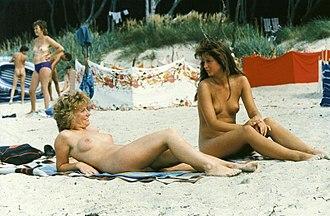 Freikörperkultur - Young East German women at a naturist beach in Rostock, 1988