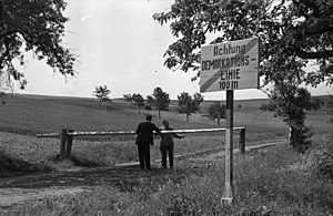 Development of the inner German border - The border before fortification: inter-zonal barrier near Asbach in Thuringia, 1950