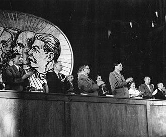 Mikhail Suslov - Suslov (far right) in 1950