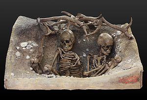 Burial - Reconstruction of the Mesolithic tomb of two women from Téviec, Brittany.