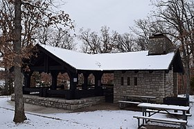 CCC picnic shelter at Buzzard's Roost, Mark Twain State Park.jpg