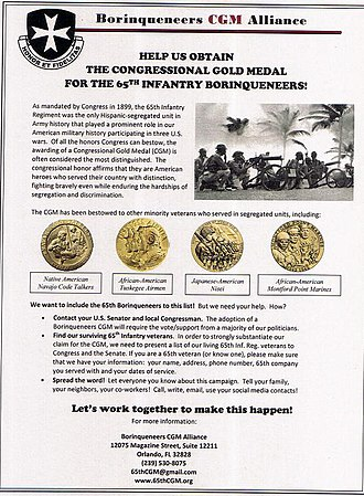 Congressional Gold Medal - Flyer promoting the Congressional Gold Medal award or the 65th Infantry Regiment