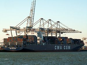 CMA CGM Tosca, at the Amazone harbour, Port of Rotterdam, Holland 29-Jan-2006.jpg