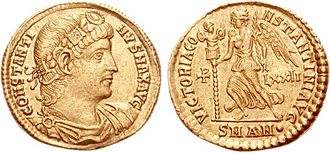 Palm branch - Solidus (335–336 AD) of Constantine I, the first Christian emperor, with Victory holding a palm and a military trophy next to a christogram