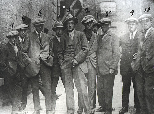 "A photo purportedly of the Cairo Gang, but more probably the Igoe Gang (sometimes called the ""Murder Gang"" by the IRA). These were RIC officers who were brought to Dublin to identify and target IRA men who had moved to the capital from their respective counties. There is no known photograph of the Cairo Gang. Cairo gang.jpg"