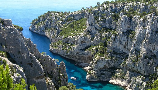 "Rock formations in Calanques National Park between Marseille and Cassis, among the oldest in metropolitan France Calanque d""En-vau.jpg"