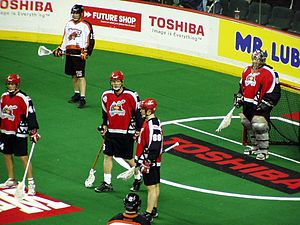 Sport in Canada - A Calgary Roughnecks lacrosse game at the Scotiabank Saddledome.