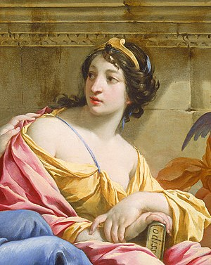 Calliope - Detail of painting The Muses Urania and Calliope by Simon Vouet, in which she holds a copy of the Odyssey