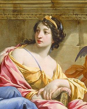 Detalhe da musa Callíope no quadro The Muses U...