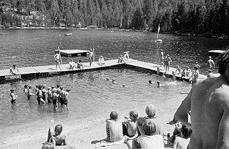 Pacific Skyline Council - The swimming area at Camp Oljato, about 1973.