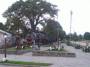 Campo Quijano - An old steam locomotive of the Tren a las Nubes  at Campo Quijano station