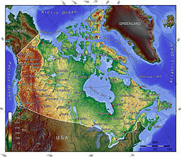 a topographic map of canada showing elevations shaded from green lower to brown higher