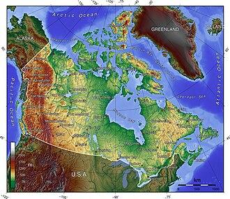Outline of Canada - Image: Canada topo