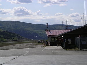 Dawson City Airport - An Hawker Siddeley HS 748  touching down on runway 03