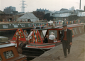 Canal boats, canal rally Stanley dock, Liverpool, late 1960s.png