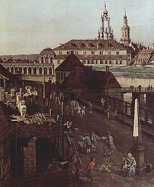 Saxon milepost - Bernardo Bellotto: view of Dresden (detail); the moats and bridge between the Wilschem Gate and the template post milepost (without coat of arms) by Matthäus Daniel Pöppelmann, ca. 1750
