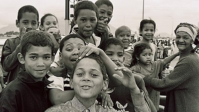 "Children from Cape Town's ""Cape Coloured"" community."
