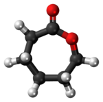 Ball-and-stick model of the caprolactone molecule