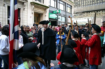 An actor performing as Preston during a re-enactment of the Boston Massacre in 2007. Captain Preston addresses the troops.jpg