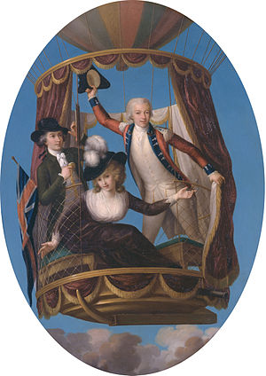 Vincenzo Lunardi - Captain Vincenzo Lunardi with his assistant George Biggin, and Mrs. Letitia Anne Sage, in a balloon (John Francis Rigaud, 1785)