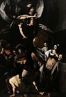 Peinture dans laquelle des anges, en haut, semblent bénir sept actions charitables simultanées réalisées sous leurs ailes par des êtres humains.
