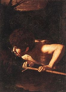 Tableau représentant un jeune homme qui boit à une fontaine jaillissante.