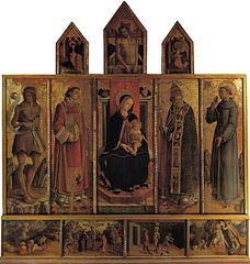 Polyptych of Madonna and child with saints