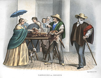 Poncho -  A market scene in Bogotá, circa 1860