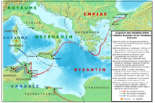 Carte des opérations de la guerre des Vandales, à droite une légende en anglais