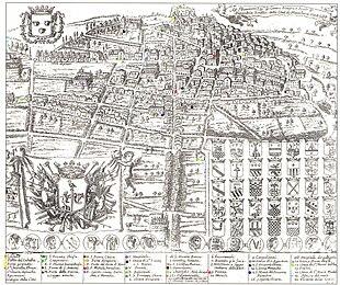 cartina di Monteleone di Calabria, attuale Vibo Valentia, in alto a sinistra è visibile lo stemma dei Pignatelli