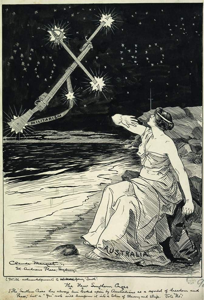 Cartoon Against Australian Conscription, 1916