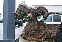Bighorn Ram, Recycled Barbed Wire Sculpture in Cascade, Idaho