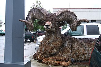 Valley County, Idaho - Image: Cascade Idaho, Bighorn Ram, Recycled Barbed Wire Sculpture panoramio