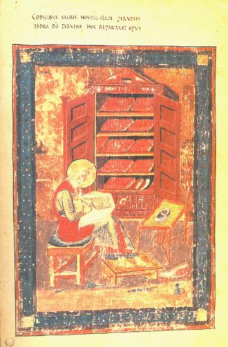 2 Esdras - Ezra produces the ninety-four books (Codex Amiatinus, 8th century)