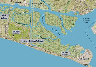 Caswell Beach, North Carolina - Caswell Beach NC Map (annotated)